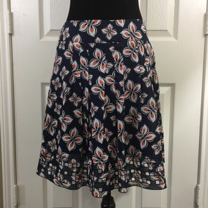 Ann Taylor Floral Cutout Accents Skater Skirt